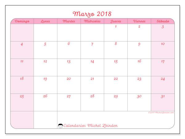 Calendario marzo 2018 (63DS). Planificación para imprimir gratis.