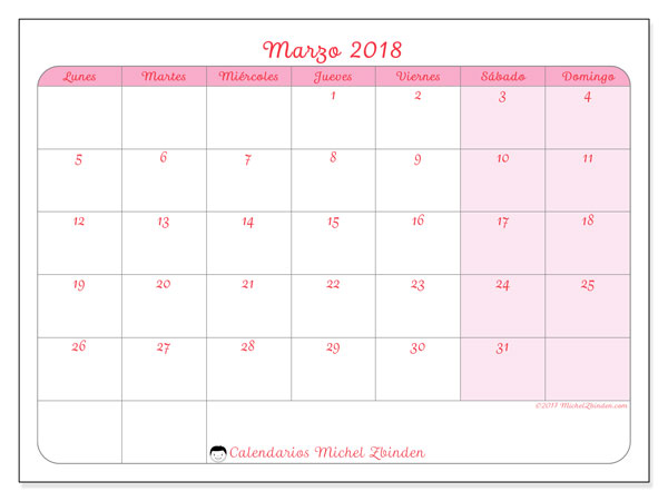 Calendario marzo 2018 (63LD). Calendario imprimible gratis.