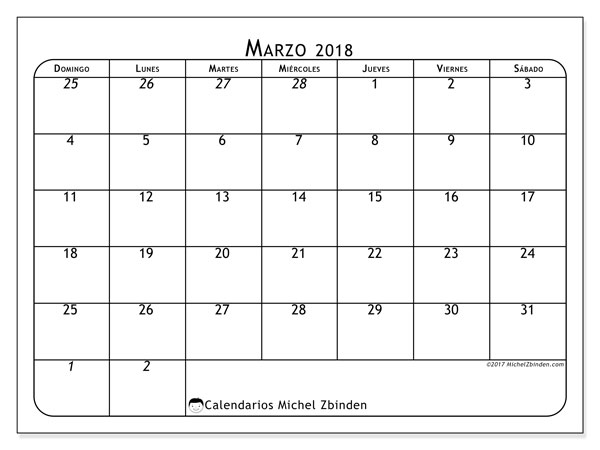 Calendario marzo 2018 (67DS). Calendario imprimible gratis.
