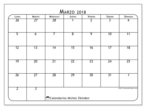 Calendario marzo 2018 (67LD). Calendario imprimible gratis.