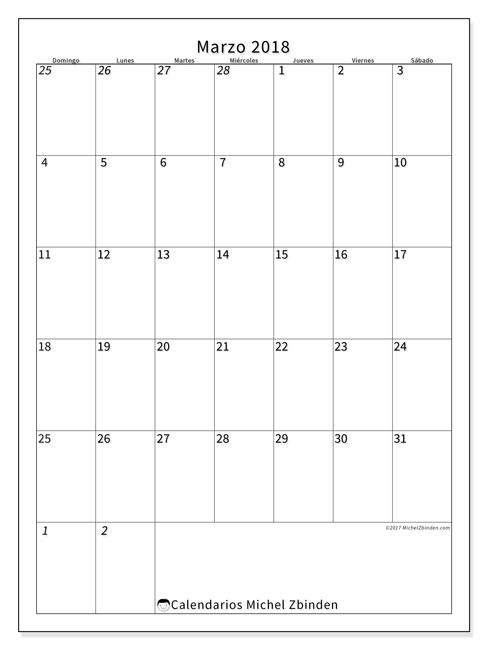Calendario marzo 2018 (68DS). Planificación para imprimir gratis.