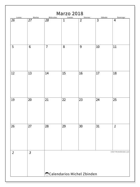 Calendario marzo 2018 (68LD). Calendario imprimible gratis.