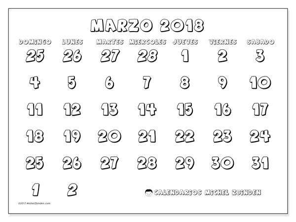 Calendario marzo 2018 (71DS). Calendario gratuito para imprimir.
