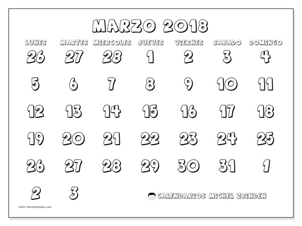 Calendario marzo 2018 (71LD). Calendario imprimible gratis.