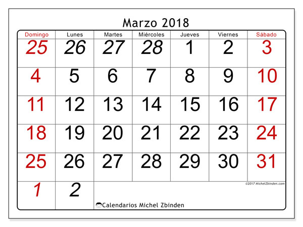 Calendario marzo 2018 (72DS). Calendario imprimible gratis.