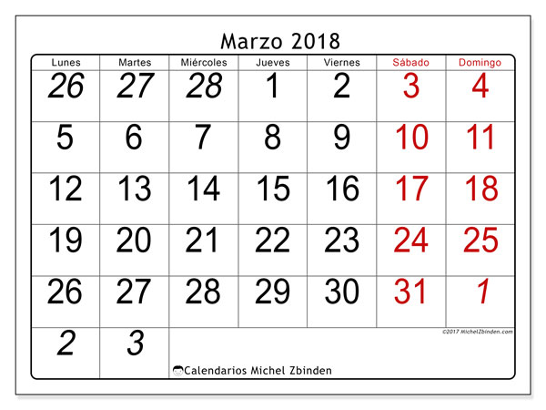Calendario marzo 2018 (72LD). Calendario mensual para imprimir gratis.