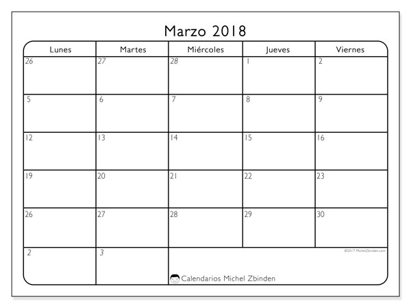 Calendario marzo 2018 (74LV). Almanaque para imprimir gratis.