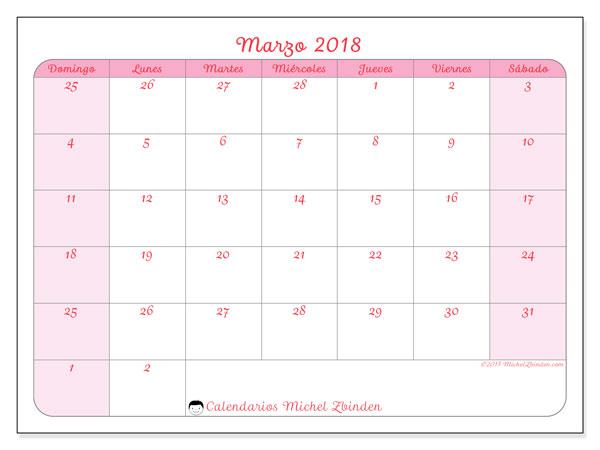 Calendario marzo 2018 (76DS). Calendario mensual para imprimir gratis.