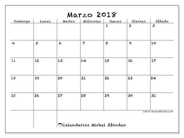 Calendario marzo 2018 (77DS). Calendario para el mes para imprimir gratis.