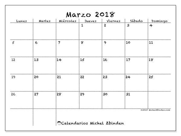 Calendario marzo 2018 (77LD). Planificación para imprimir gratis.