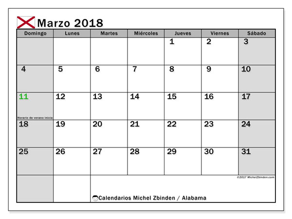 Calendario Alabama, marzo 2018