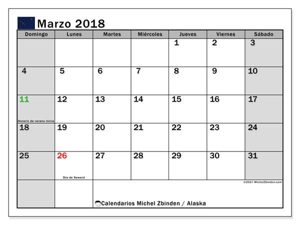 Calendario marzo 2018, con los días feriados en Alaska. Almanaque para imprimir gratis.