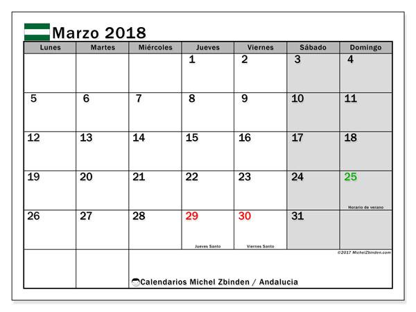 Calendario marzo 2018, con los días festivos de Andalucia. Calendario mensual para imprimir gratis.