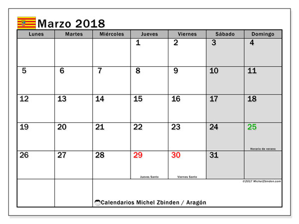 Calendario marzo 2018, con los días festivos de Aragón. Almanaque para imprimir gratis.