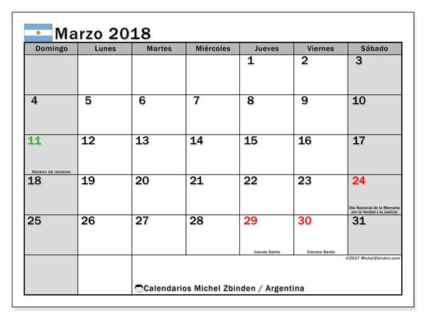 Calendario marzo 2018, con los días feriados en Argentina. Calendario para el mes para imprimir gratis.