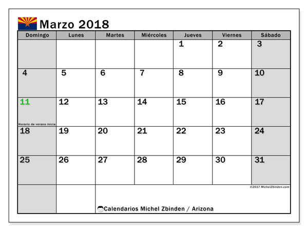 Calendario Arizona, marzo 2018