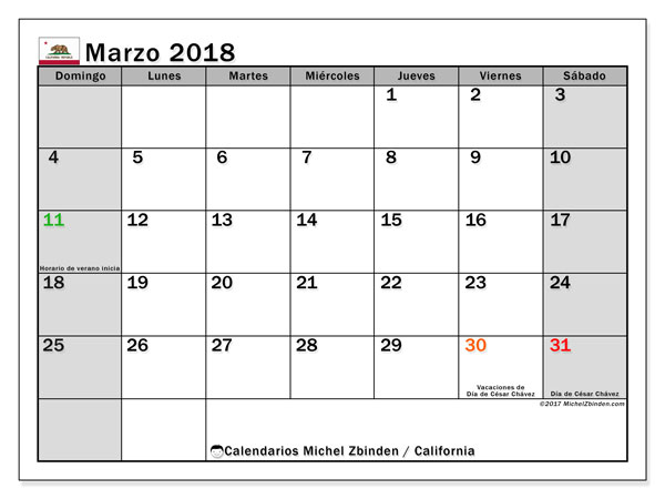 Calendario California, marzo 2018