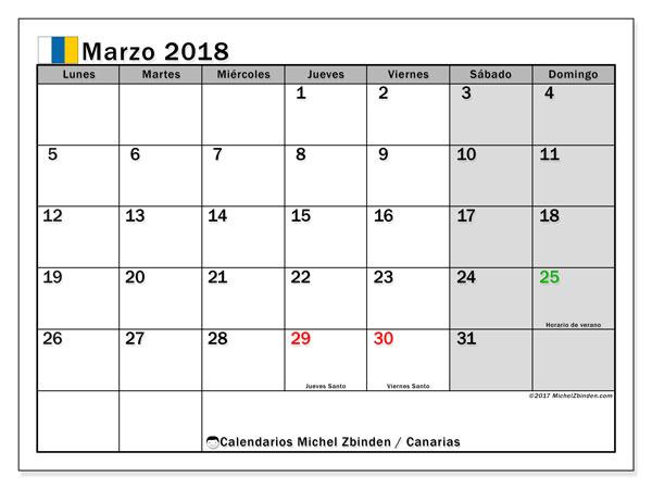 Calendario marzo 2018, con los días festivos de las Islas Canarias. Planificación para imprimir gratis.
