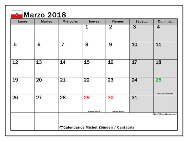 Calendario marzo 2018, con los días festivos de Cantabria. Calendario imprimible gratis.