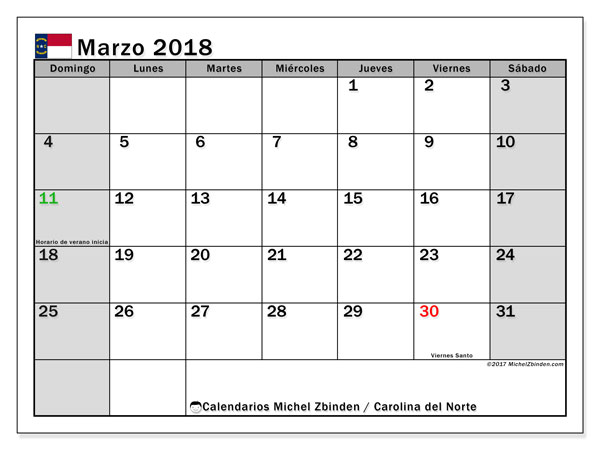 Calendario Carolina del Norte, marzo 2018