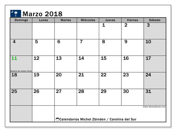 Calendario Carolina del Sur, marzo 2018