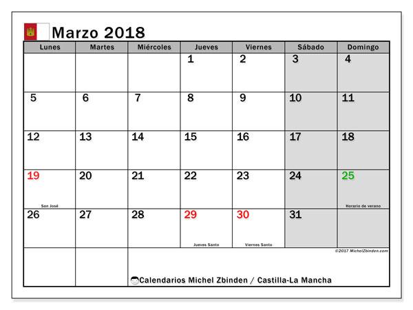 Calendario marzo 2018, con los días festivos de Castilla-La Mancha. Almanaque para imprimir gratis.
