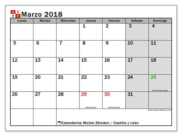 Calendario marzo 2018, con los días festivos de Castilla y León. Calendario gratuito para imprimir.