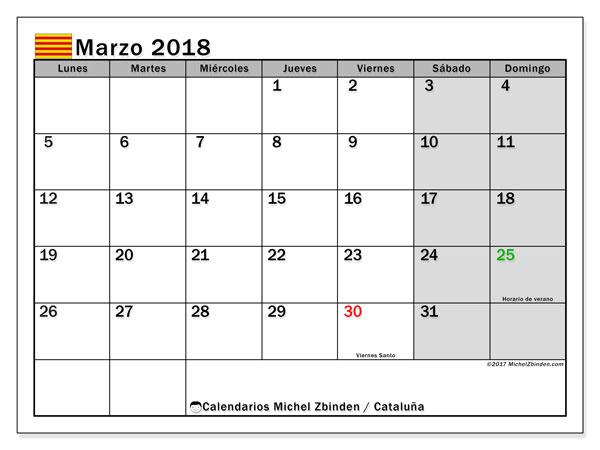Calendario marzo 2018, con los días festivos de Cataluña. Almanaque para imprimir gratis.