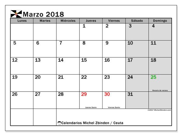Calendario marzo 2018, con los días festivos de Ceuta. Calendario imprimible gratis.