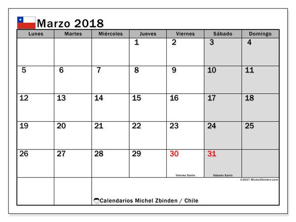 Calendario marzo 2018, con los días feriados para Chile. Calendario para imprimir gratis.