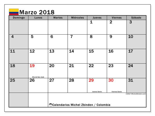 Calendario marzo 2018, con los días festivos en Colombia. Calendario mensual para imprimir gratis.