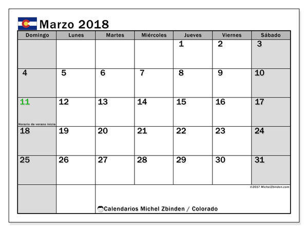 Calendario Colorado, marzo 2018