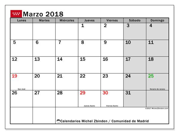 Calendario marzo 2018, con los días festivos de la Comunidad de Madrid. Almanaque para imprimir gratis.