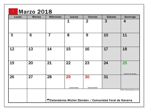 Calendario marzo 2018, con los días festivos para la Comunidad Foral de Navarra. Calendario mensual para imprimir gratis.