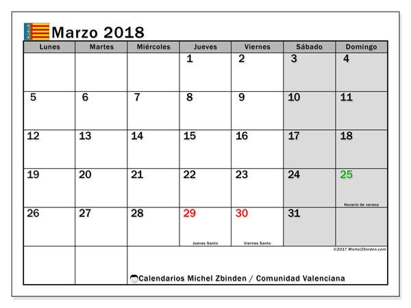 Calendario marzo 2018, con los días festivos de la Comunidad Valenciana. Calendario mensual para imprimir gratis.