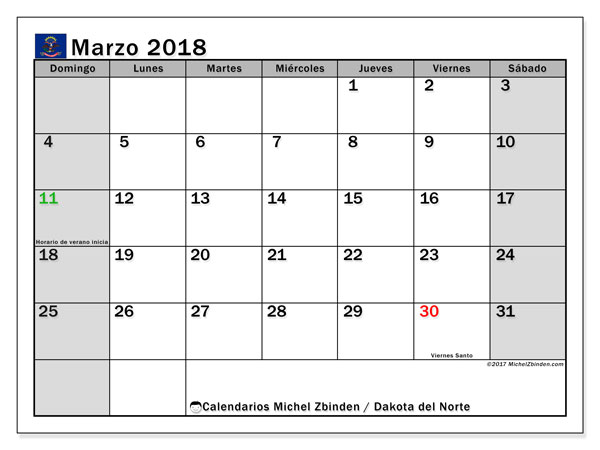 Calendario Dakota del Norte, marzo 2018