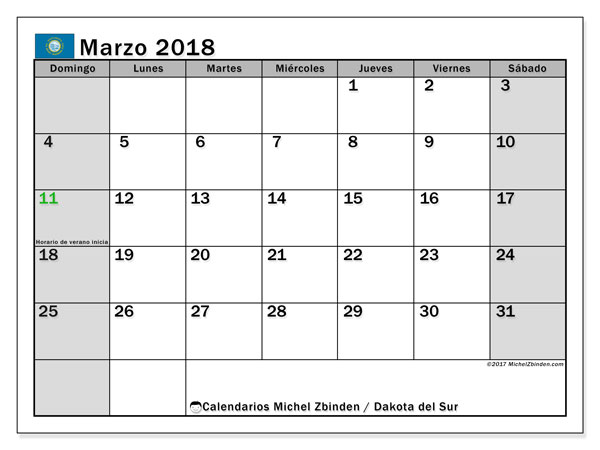 Calendario Dakota del Sur, marzo 2018