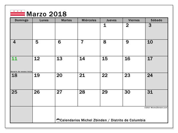 Calendario marzo 2018, con los días feriados del Distrito de Columbia. Calendario imprimible gratis.