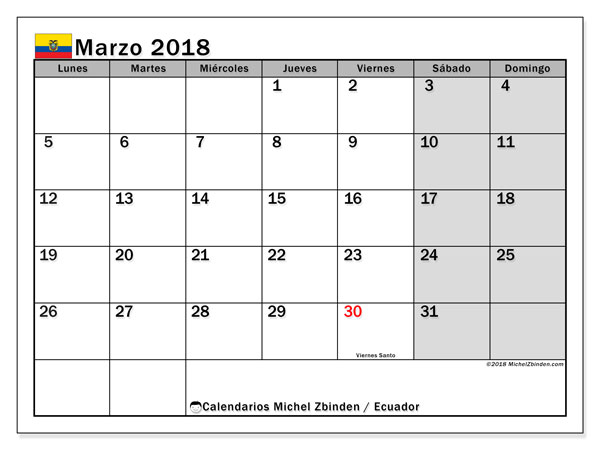 Calendario marzo 2018, con los días feriados para Ecuador. Planificación para imprimir gratis.