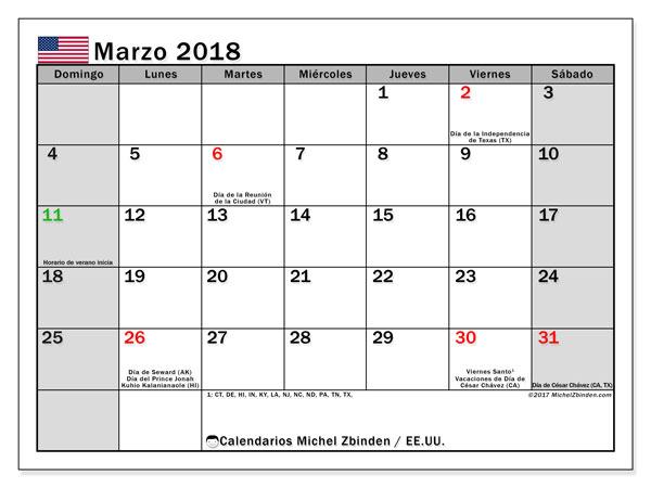 Calendario marzo 2018, con los días feriados en EE.UU.. Planificación para imprimir gratis.