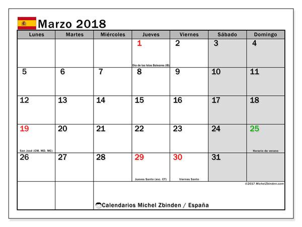 Calendario marzo 2018, con los días festivos de España. Calendario para imprimir gratis.