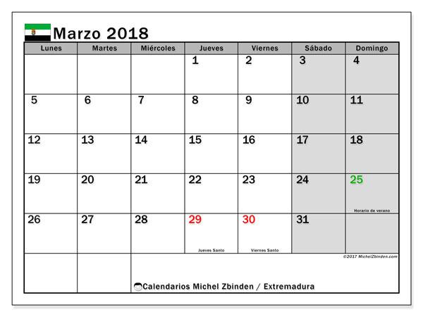 Calendario marzo 2018, con los días festivos de Extremadura. Calendario gratuito para imprimir.