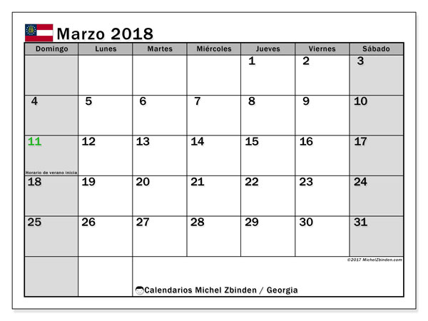 Calendario Georgia, marzo 2018