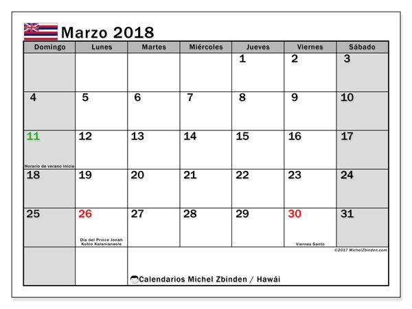 Calendario marzo 2018, con los días feriados en Hawái. Calendario imprimible gratis.