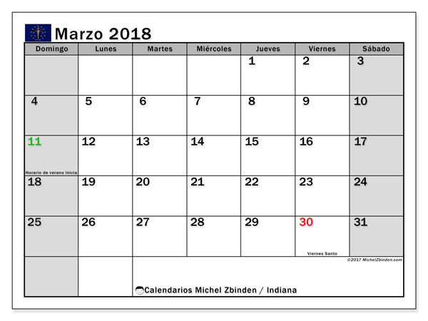 Calendario marzo 2018, con los días feriados de Indiana. Calendario imprimible gratis.