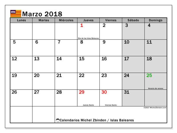 Calendario marzo 2018, con los días festivos de las Islas Baleares. Calendario para imprimir gratis.