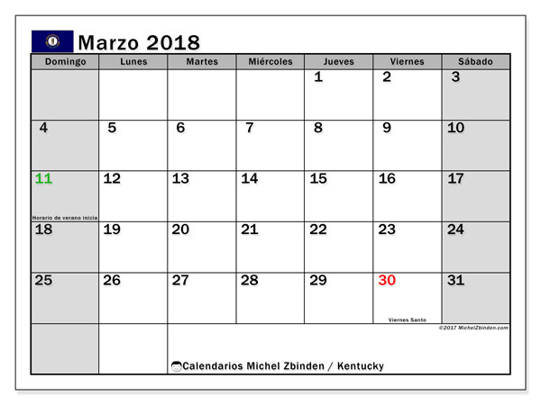 Calendario Kentucky, marzo 2018