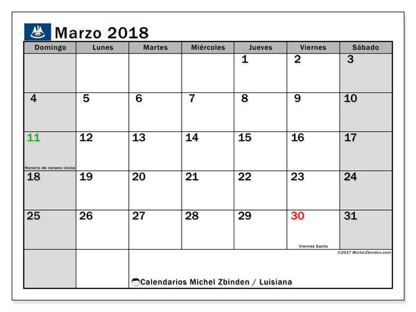 Calendario marzo 2018, con los días feriados en Luisiana. Calendario gratuito para imprimir.