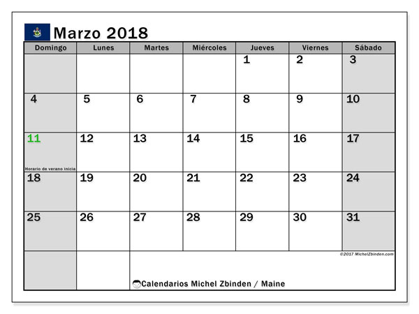 Calendario Maine, marzo 2018