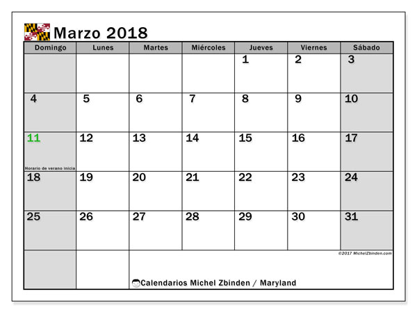 Calendario Maryland, marzo 2018